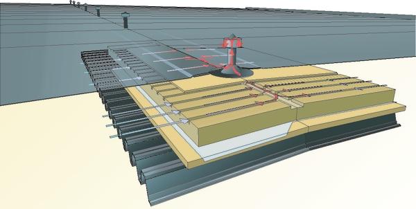 System wentylowanej izolacji dwuwarstwowej dachu płaskiego – PAROC Air. Rys. Paroc