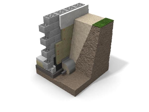 Konstrukcja nośna: ściana murowana lub betonowa; izolacja termiczna Paroc GRS 20; warstwa zwiru min. 200 mm - w celu zapewnienia dobrego drenażu. Fot. Paroc