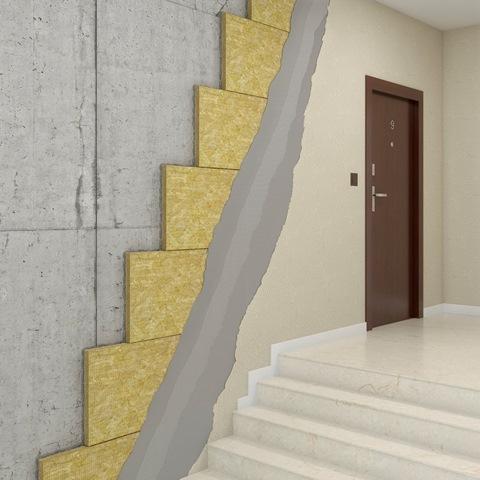 Płyty z wełny skalnej FRONTROCK S dedykowane są do ocieplania płyt balkonowych, klatek schodowych, a także do obróbki trudnych miejsc w elewacji budynków - ościeży okiennych i drzwiowych. Fot. ROCKWOOL